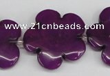 CCN2355 15.5 inches 30mm carved flower candy jade beads wholesale