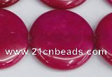 CCN3852 15.5 inches 35mm flat round candy jade beads wholesale