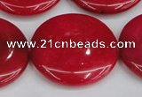 CCN3853 15.5 inches 35mm flat round candy jade beads wholesale