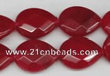 CCN391 15.5 inches 15*20mm faceted flat teardrop candy jade beads