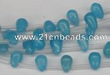 CCN440 15.5 inches Top-drilled 6*9mm teardrop candy jade beads