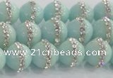 CCN4611 15.5 inches 8mm round candy jade with rhinestone beads