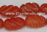 CCN682 15.5 inches 15*23mm carved oval candy jade beads wholesale