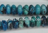 CCO172 15.5 inches 6*12mm rondelle dyed natural chrysotine beads