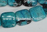 CCO187 15.5 inches 22*22mm square dyed natural chrysotine beads