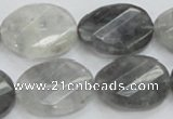 CCQ166 15.5 inches 18*25mm twisted & faceted oval cloudy quartz beads