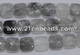 CCQ197 15.5 inches 8*8mm faceted square cloudy quartz beads