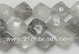 CCQ208 15.5 inches 10*10mm faceted diamond cloudy quartz beads