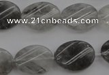 CCQ250 15.5 inches 15*20mm twisted oval cloudy quartz beads wholesale
