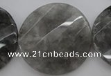 CCQ277 15.5 inches 40mm faceted & twisted coin cloudy quartz beads