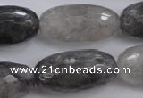 CCQ294 15.5 inches 15*30mm faceted rice cloudy quartz beads