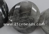 CCQ298 15.5 inches 20*38*40mm faceted & twisted coin cloudy quartz beads