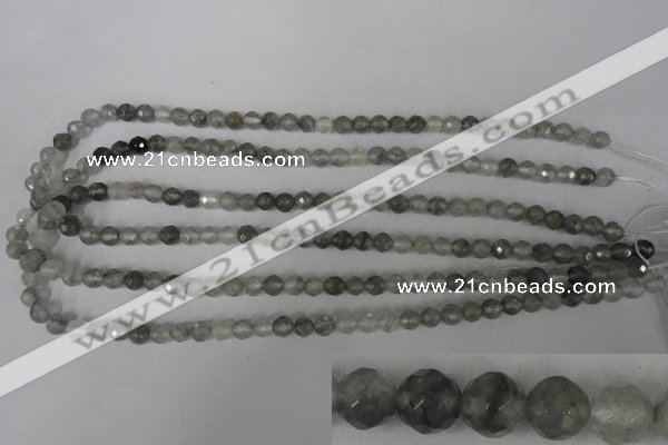 CCQ311 15.5 inches 6mm faceted round cloudy quartz beads wholesale