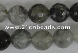 CCQ315 15.5 inches 14mm faceted round cloudy quartz beads wholesale