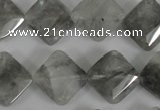 CCQ485 15.5 inches 15*15mm faceted diamond cloudy quartz beads