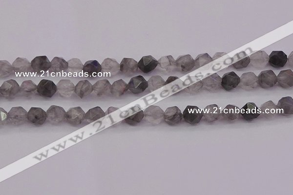 CCQ573 15.5 inches 10mm faceted nuggets cloudy quartz beads