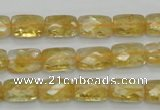CCR27 15.5 inches 8*12mm faceted rectangle natural citrine beads