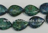 CCS173 15.5 inches 13*18mm flat teardrop dyed chrysocolla gemstone beads