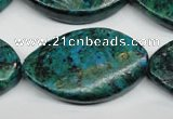 CCS485 15.5 inches 25*40mm twisted marquise dyed chrysocolla gemstone beads