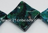 CCS488 15.5 inches 32*32mm wavy diamond dyed chrysocolla gemstone beads