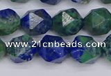 CCS548 15.5 inches 10mm faceted nuggets dyed chrysocolla beads