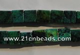 CCS612 15.5 inches 8*8mm cube dyed chrysocolla gemstone beads