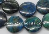 CCS64 16 inches 20mm flat round dyed chrysocolla gemstone beads