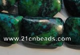CCS706 15.5 inches 20*30mm twisted rectangle dyed chrysocolla beads