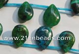 CCS712 Top-drilled 12*17mm flat teardrop dyed chrysocolla gemstone beads