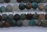CCS760 15.5 inches 4mm round matte natural chrysocolla beads