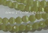 CCT314 15 inches 4mm faceted round cats eye beads wholesale