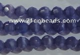 CCT347 15 inches 5mm faceted round cats eye beads wholesale