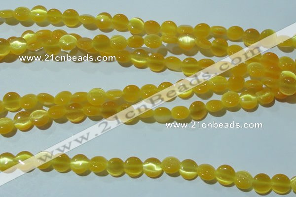 CCT455 15 inches 6mm flat round cats eye beads wholesale