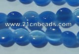CCT464 15 inches 6mm flat round cats eye beads wholesale