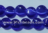 CCT466 15 inches 6mm flat round cats eye beads wholesale