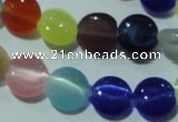 CCT467 15 inches 6mm flat round cats eye beads wholesale