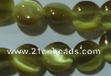 CCT483 15 inches 8mm flat round cats eye beads wholesale