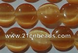 CCT485 15 inches 8mm flat round cats eye beads wholesale