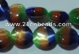 CCT499 15 inches 8mm flat round cats eye beads wholesale