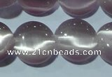 CCT512 15 inches 10mm flat round cats eye beads wholesale