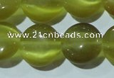 CCT519 15 inches 10mm flat round cats eye beads wholesale