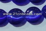 CCT525 15 inches 10mm flat round cats eye beads wholesale