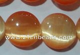 CCT543 15 inches 12mm flat round cats eye beads wholesale
