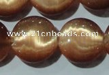 CCT544 15 inches 12mm flat round cats eye beads wholesale
