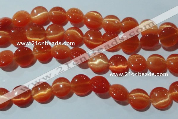 CCT546 15 inches 12mm flat round cats eye beads wholesale