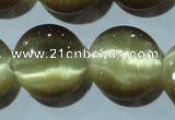 CCT547 15 inches 12mm flat round cats eye beads wholesale