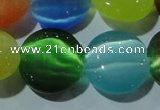 CCT552 15 inches 12mm flat round cats eye beads wholesale