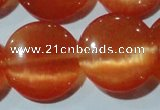 CCT572 15 inches 14mm flat round cats eye beads wholesale