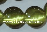 CCT573 15 inches 14mm flat round cats eye beads wholesale