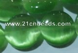 CCT575 15 inches 14mm flat round cats eye beads wholesale
